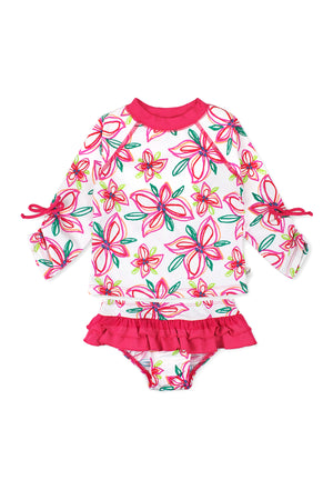 Crayon Flower Short Sleeve Rash Guard Set, Pink