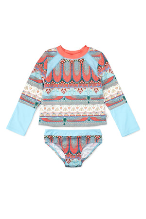 Egyptian Raglan Long Sleeve Rash Guard Set, Dusty Blue