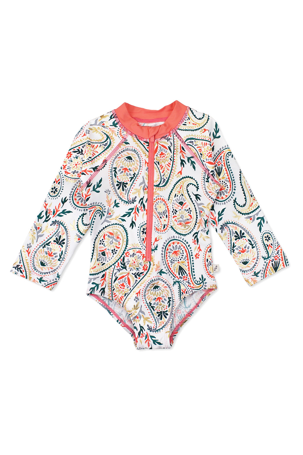 Golden Paisley One-piece Rash Guard, Coral
