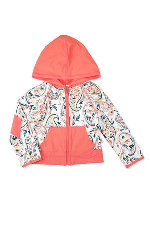Golden Paisley Hooded Zip-up Rash Guard, Coral