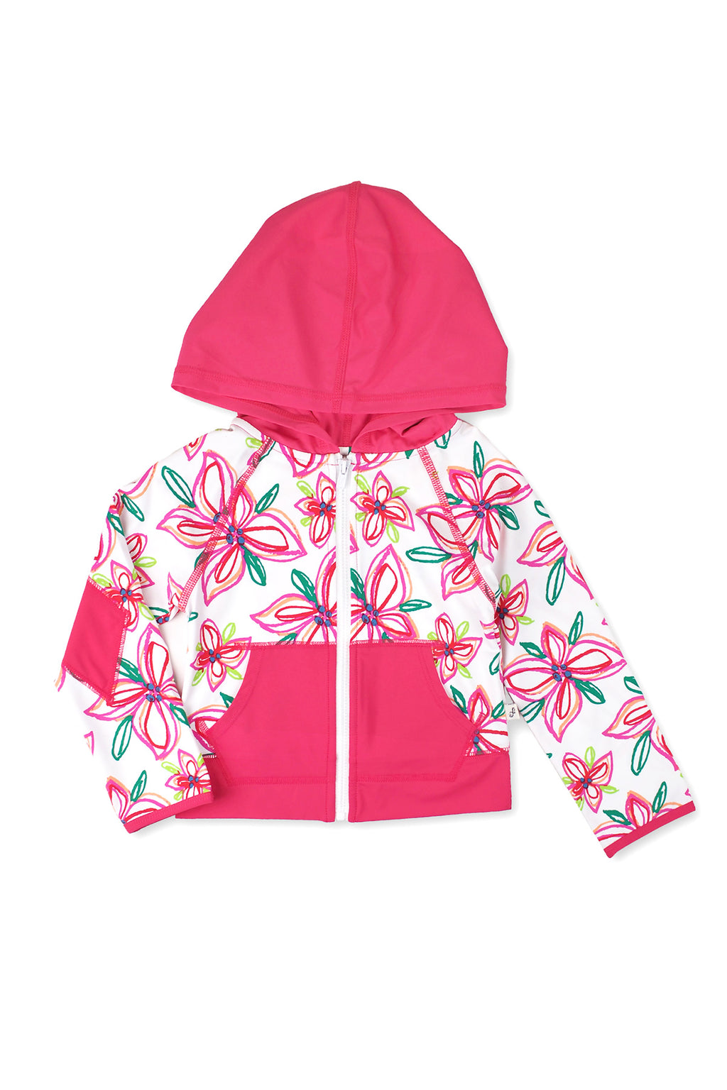 Crayon Flower Hooded Zip-up Rash Guard, Pink