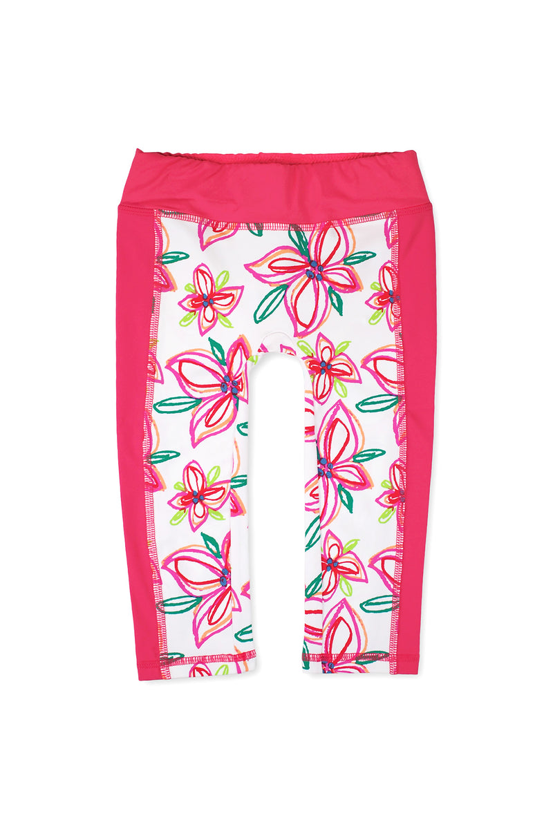 Crayon Flower Swim Leggings, Pink