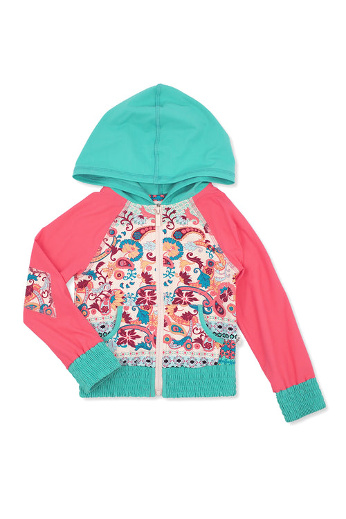 Paisley Border Hooded Zip-up Rash Guard, coral