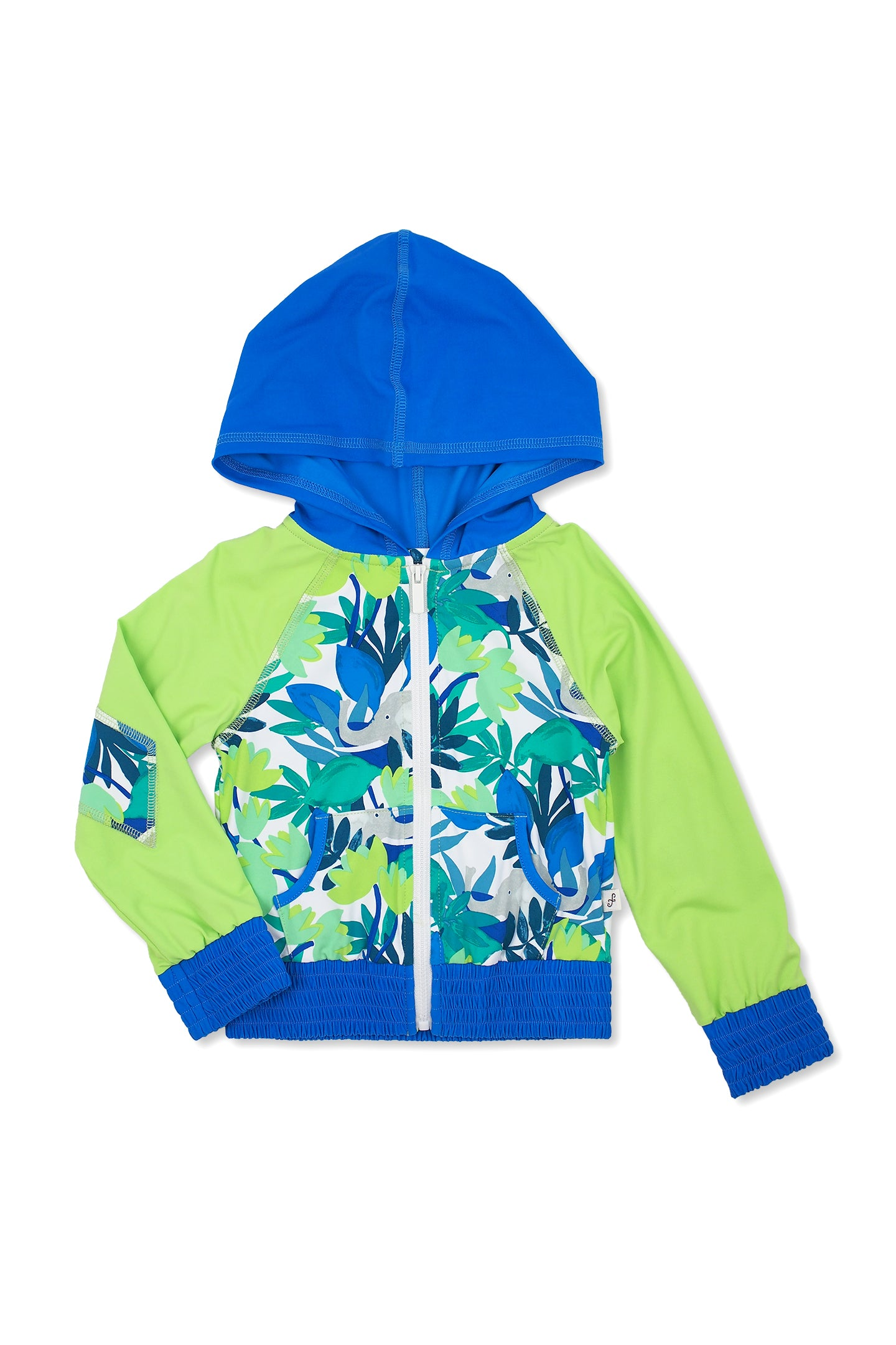 Forest Elephants Hooded Zip-up Rash Guard, lime