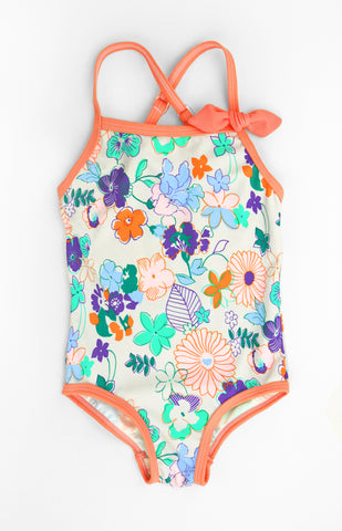 Multi Floral One-piece, APRICOT