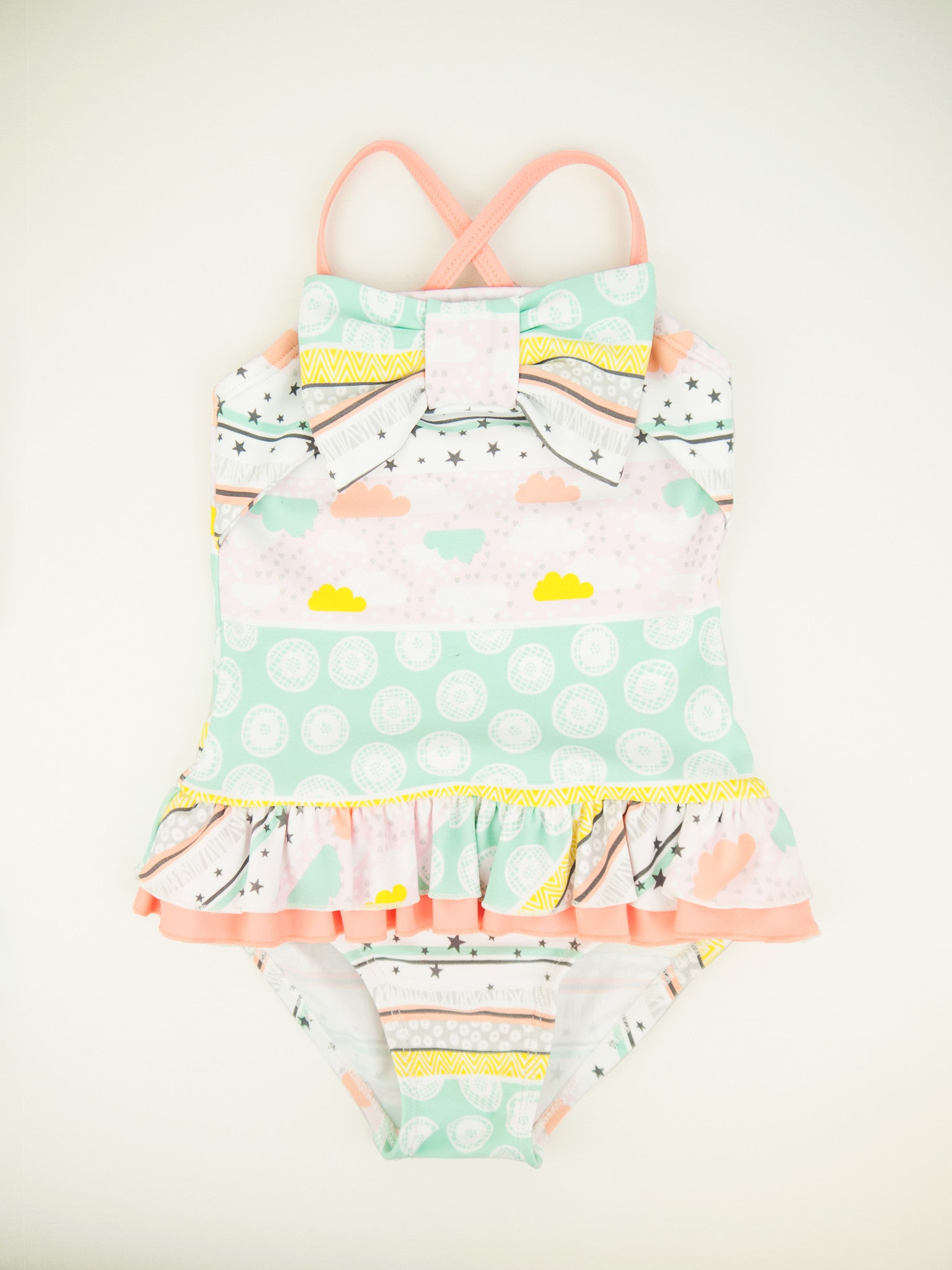 Stars & Clouds Front Bow One-piece, apricot