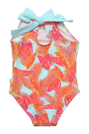Tropical Feather Back Neck Tie One-piece, light blue