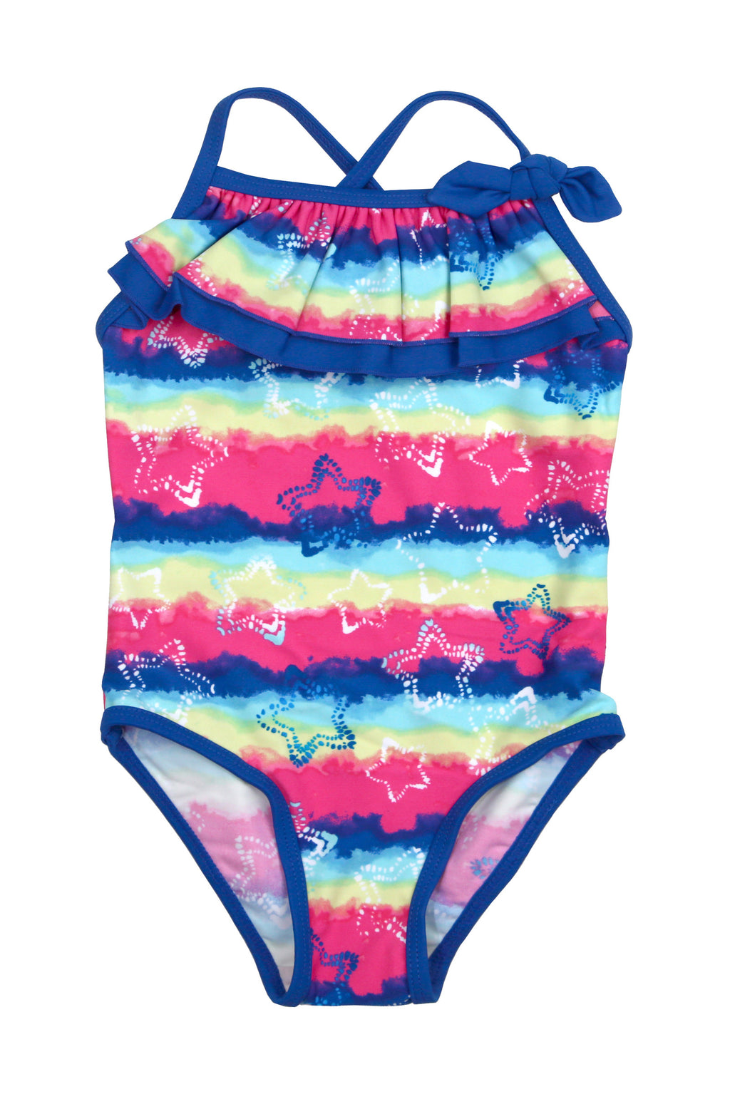 Stars on Tie-dye Front Ruffle One-piece, navy