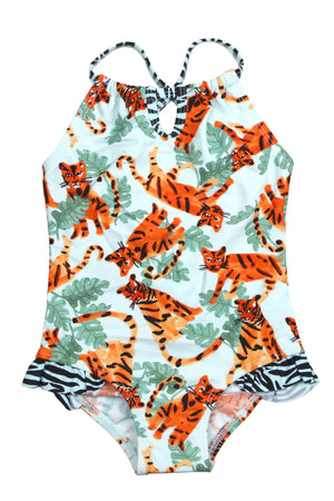 Jungle Tiger Keyhole Neck One-piece, mint