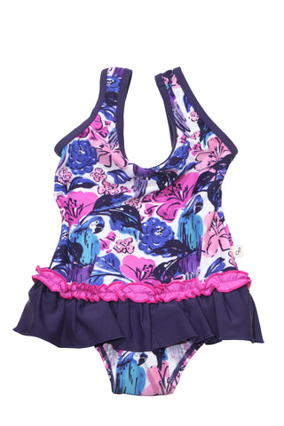 Multi Floral Border Back Neck Tie Tankini Set, pink