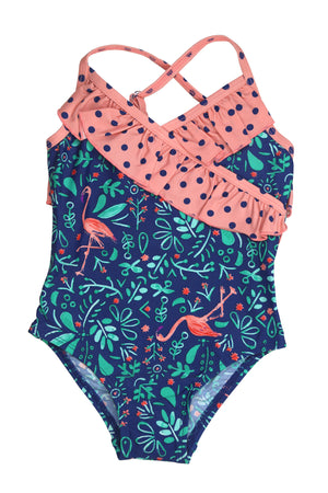 Botanical Flamingo Front Wrap One-piece, navy