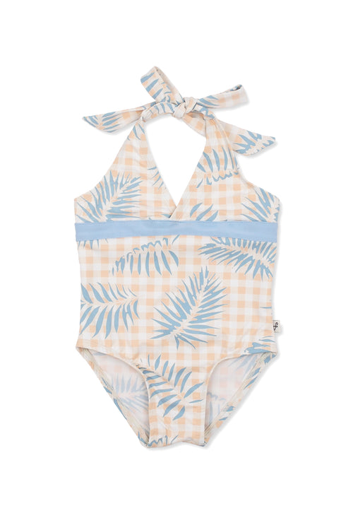 Palms on Gingham Wrap Front Halter One-piece, slate