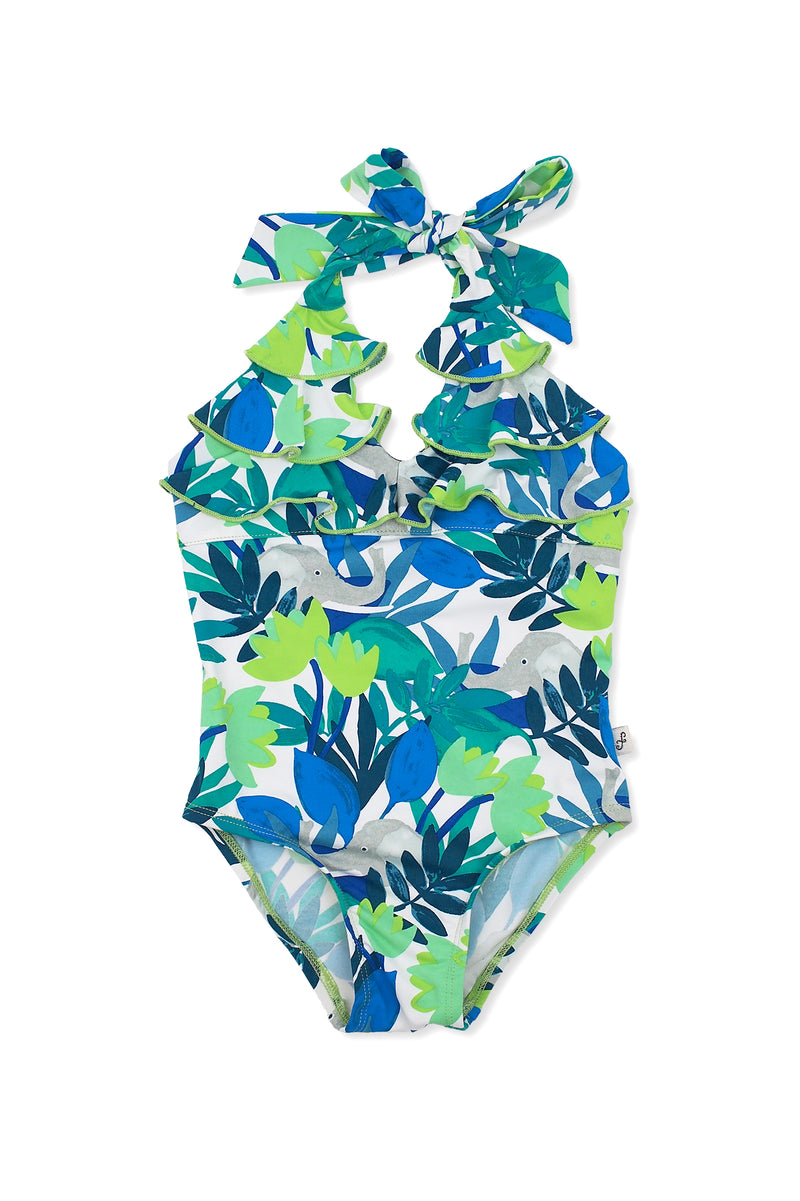 Forest Elephants Halter Ruffle One-piece, lime