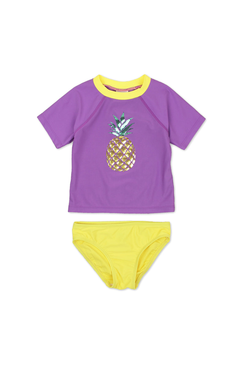 Pineapple Sequin Short Sleeve Rash Guard Set