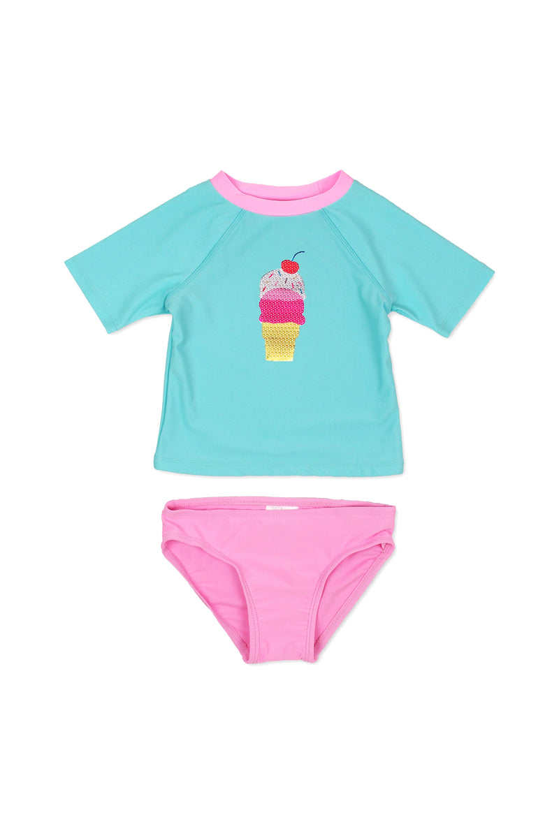 Ice Cream Sequin Short Sleeve Rash Guard Set