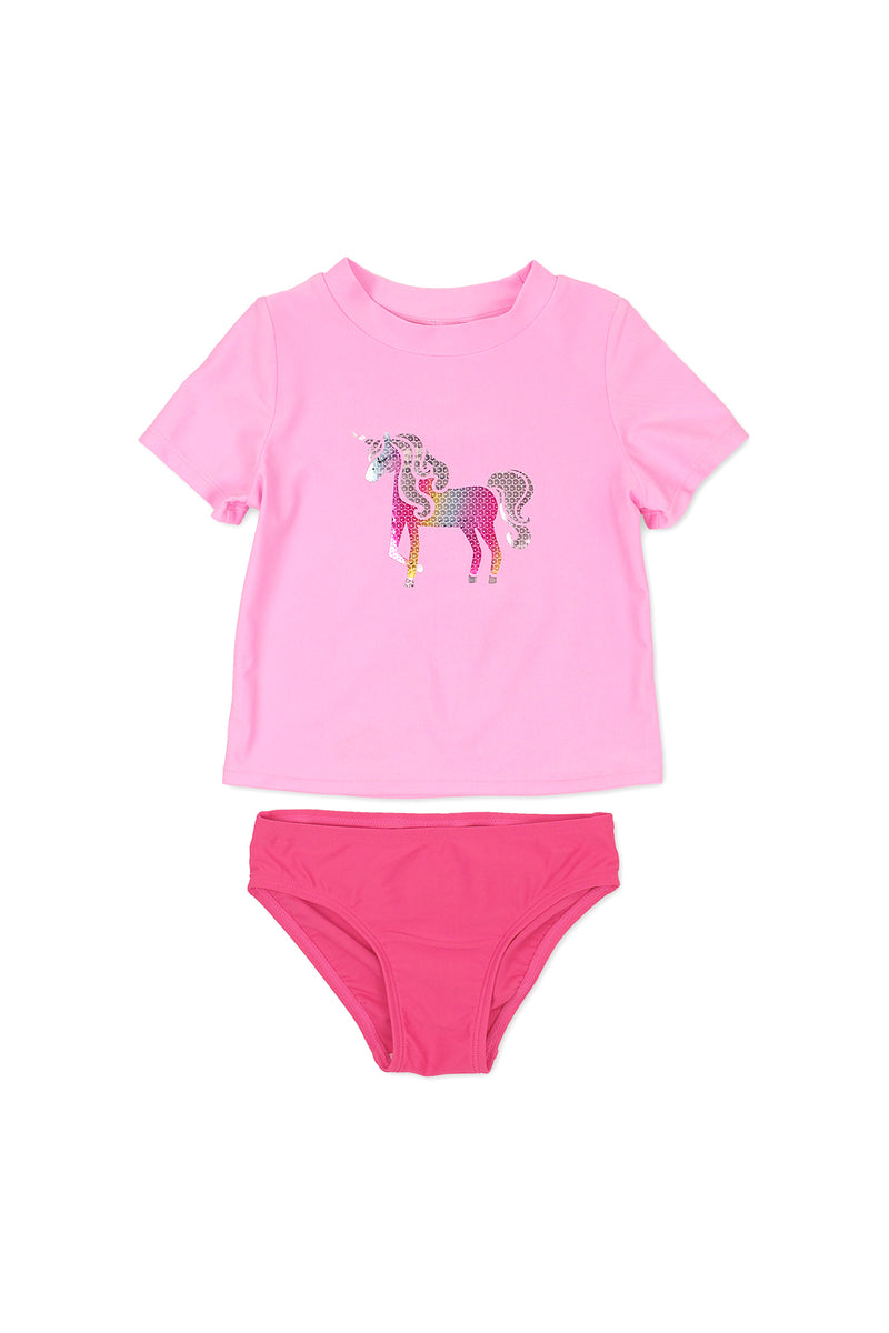 Unicorn Sequin Short Sleeve Rash Guard Set