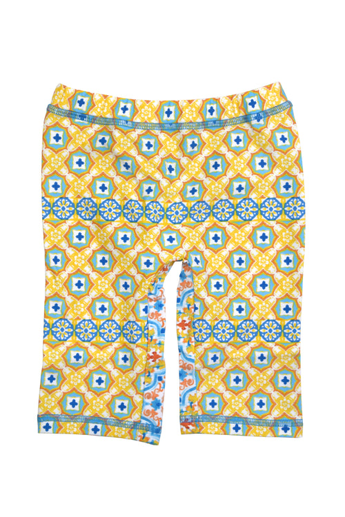 Spanish Tile Capri Swim Leggings, yellow