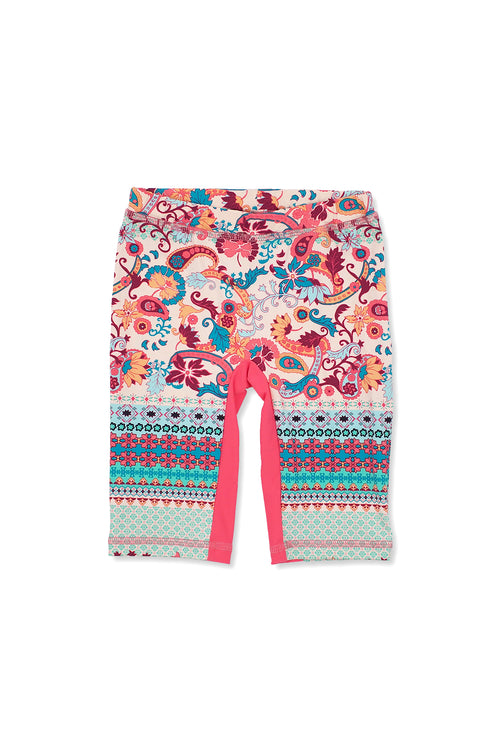 Paisley Border Capri Swim Leggings, coral