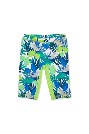 Forest Elephants Capri Swim Leggings, lime