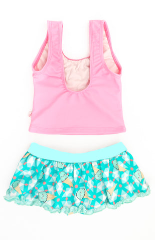 Geometric Icecream Tankini, TEAL