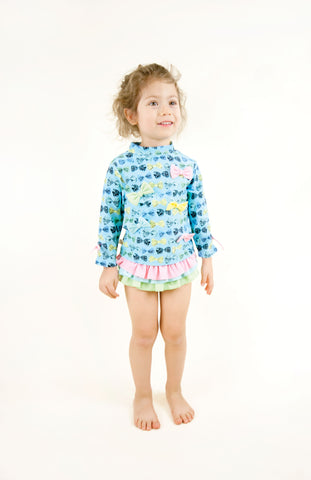 Bow Rashguard Set, BABY BLUE