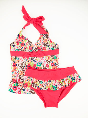 Floral Bouquet Halter Neck Tankini Set, PEACH