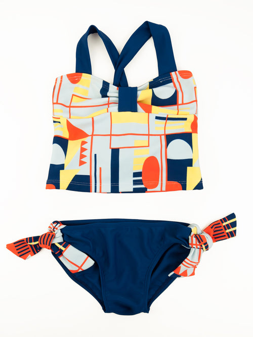 Geometric Criss Cross Back Tankini Set, navy