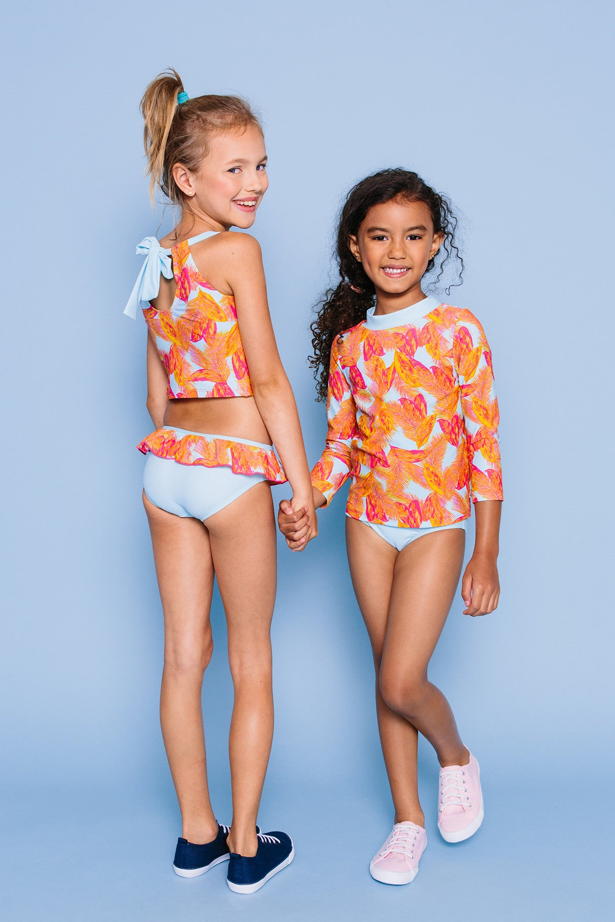Tropical Feather Back Neck Tie Tankini Set, light blue