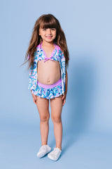 Floral Paisley Bikini & Short Sleeve Rash Guard 3-pc Set, lavender