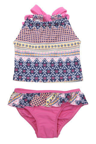 Flower Garden Crop Bikini Set, PINK
