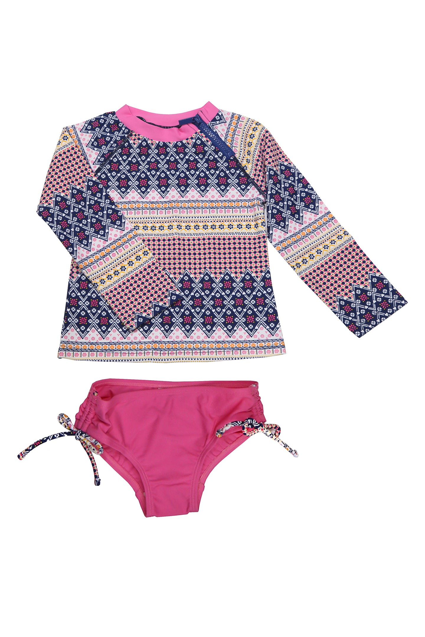 Multi Floral Border Raglan Long Sleeve Rash Guard Set, pink