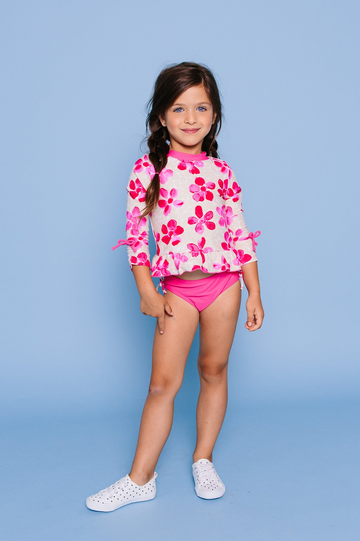 Pink Daisies Long Sleeve Rash Guard Set, PINK