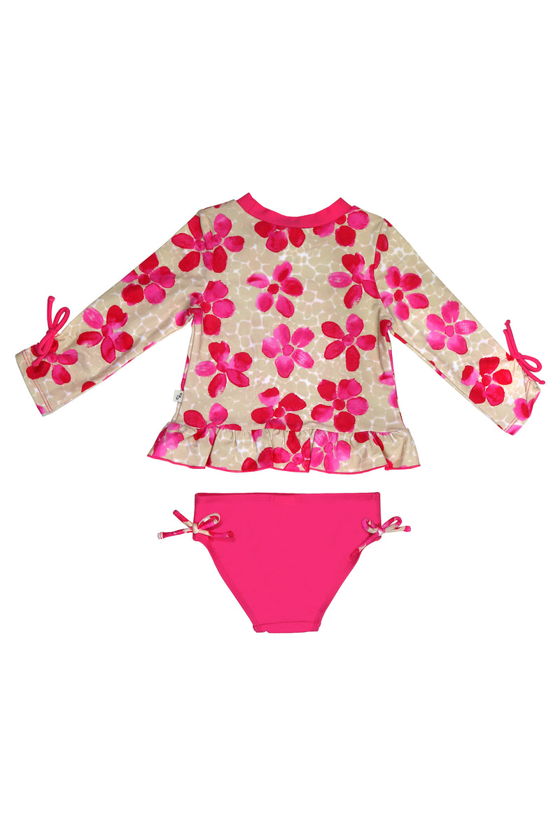 Pink Daisies 3/4 Sleeve Rash Guard Set, pink
