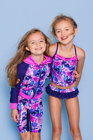 Birds of Paradise Ruffled Tankini Set, purple