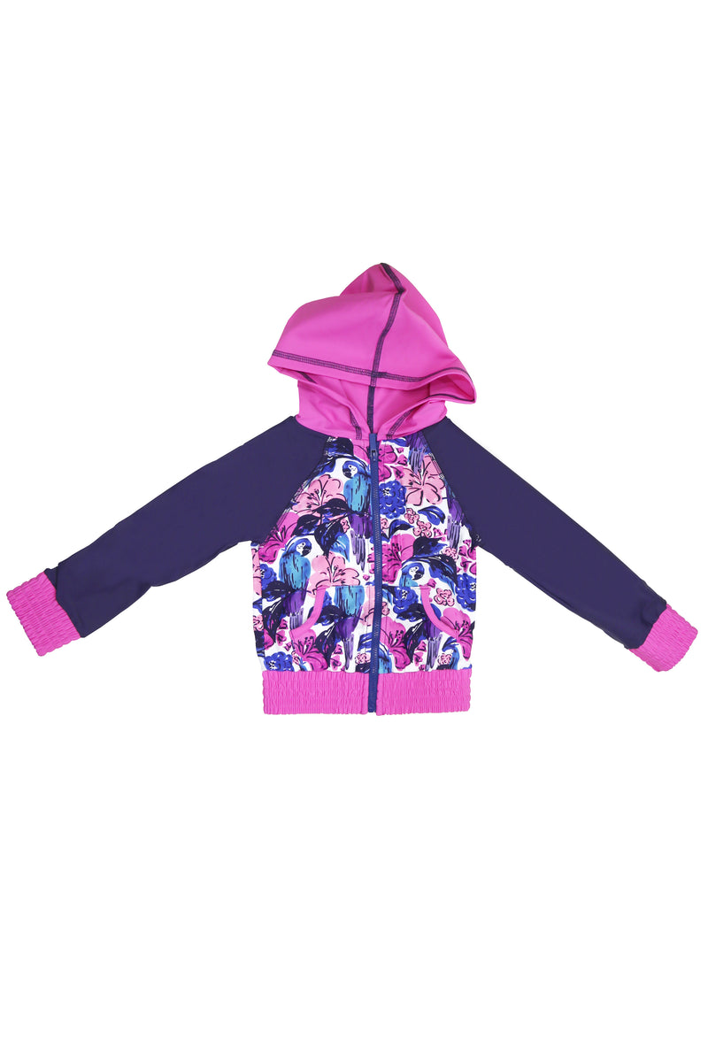Birds of Paradise Hooded Zip-up Rash Guard, purple