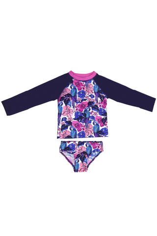 Camo Floral Raglan Long Sleeve Rash Guard Set, pink