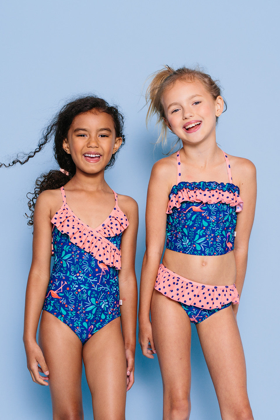 Botanical Flamingo Bandeau Tankini Set, NAVY