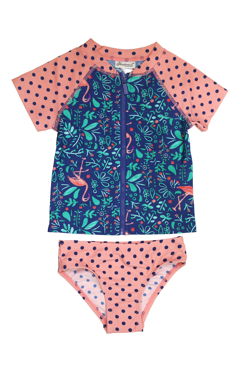 Botanical Flamingo Short Sleeve Zip-up Rash Guard Set, navy
