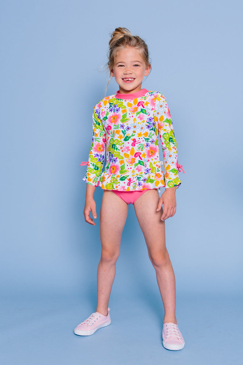 Flower Garden 3/4 Sleeve Rash Guard Set, pink