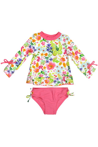 Watercolor Floral 3/4 Sleeve Rash Guard Set, blue