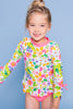 Flower Garden Long Sleeve Rash Guard Set, PINK
