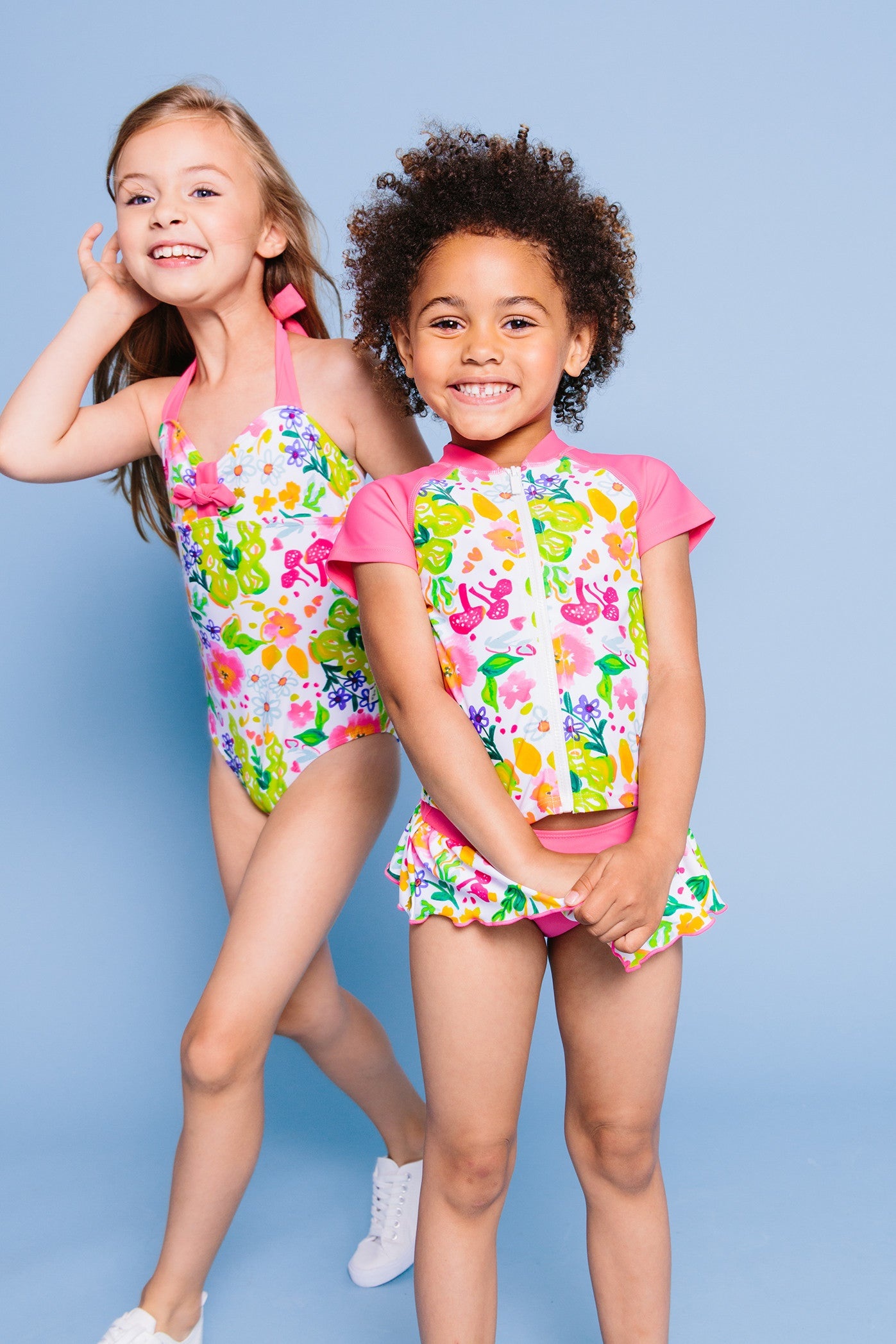 Flower Garden Bikini & Short Sleeve Rash Guard 3-pc Set, pink