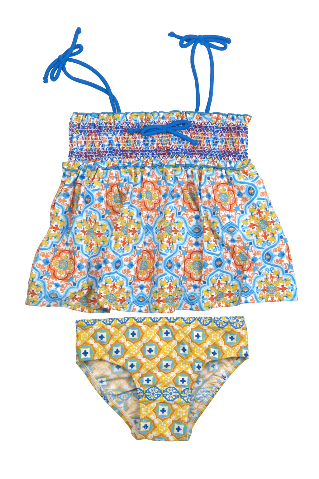 Spanish Tile Smocked Tankini Set, yellow
