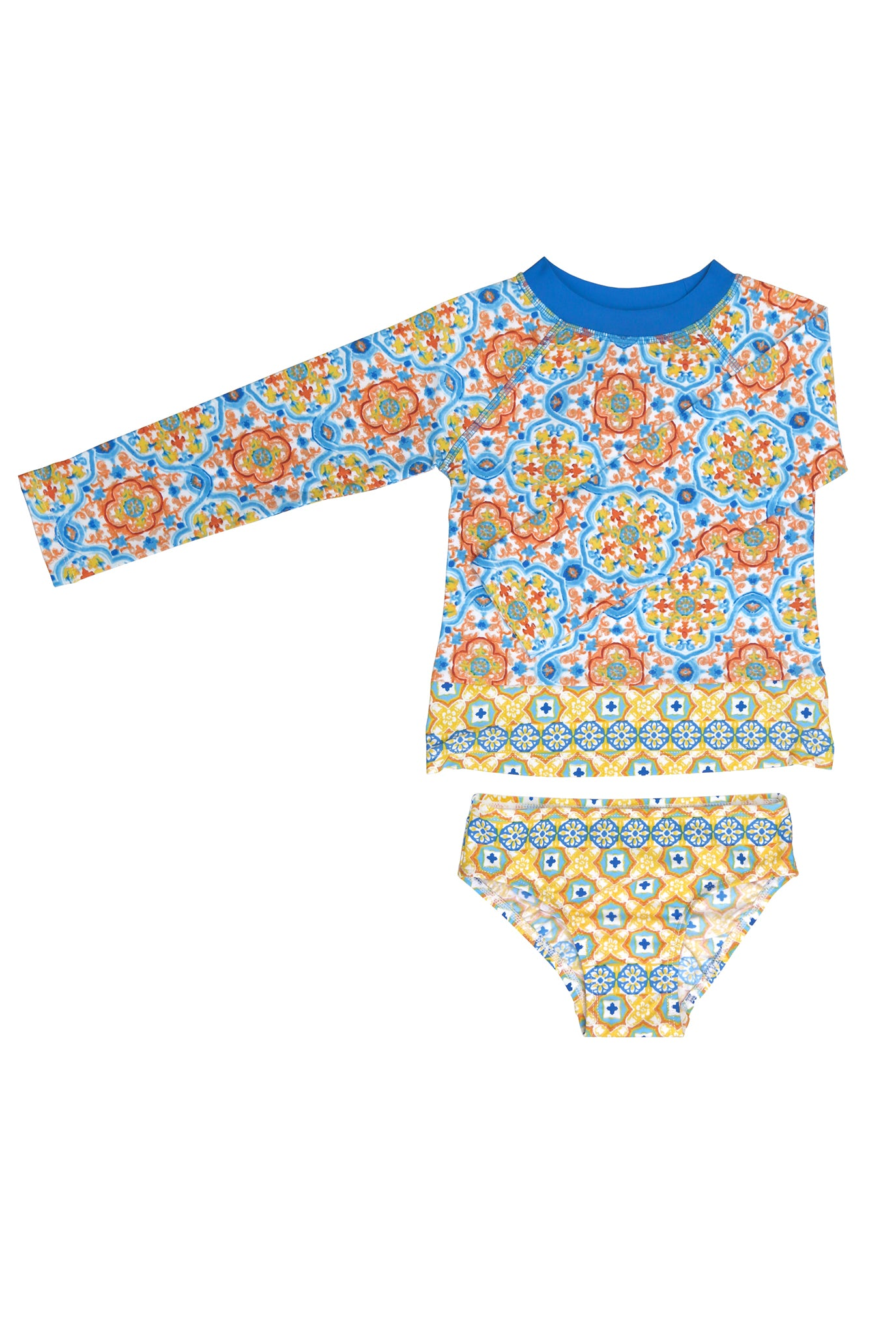 Spanish Tile Raglan Long Sleeve Rash Guard Set, yellow