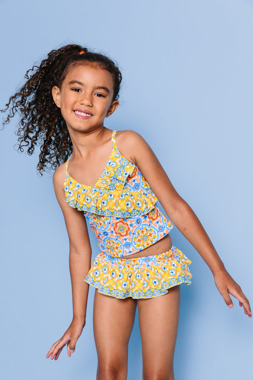 Spanish Tile Front Wrap Tankini Set, yellow