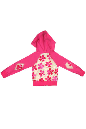 Pink Daisies Hooded Zip-up Rash Guard, pink