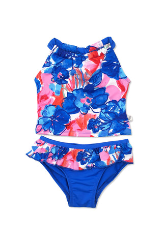 Watercolor Floral Front Wrap One-piece, blue
