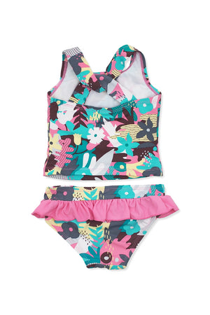 Camo Floral Twisted Crisscross Back Tankini Set, pink