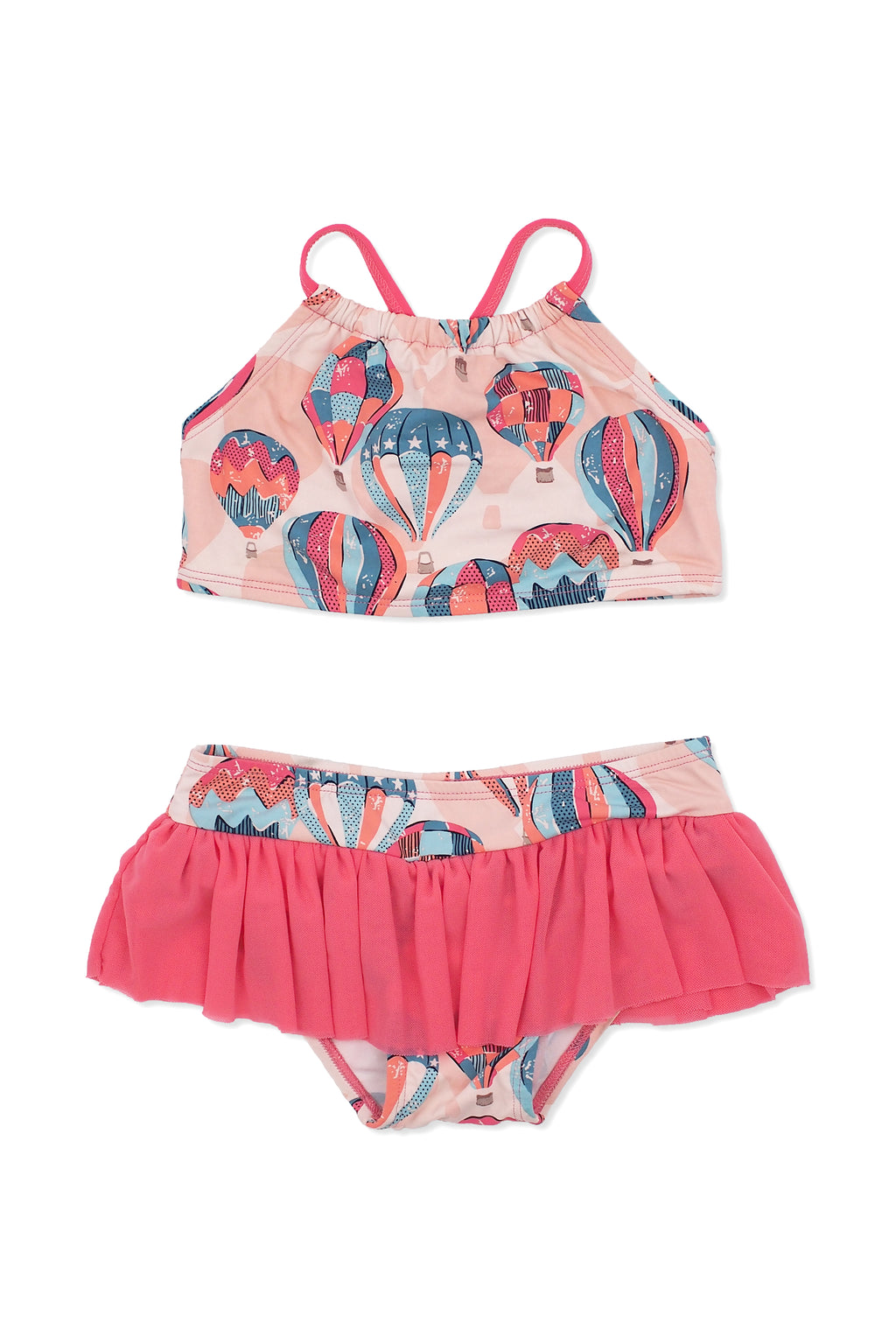 Hot Air Balloons Crop Bikini Set, peach