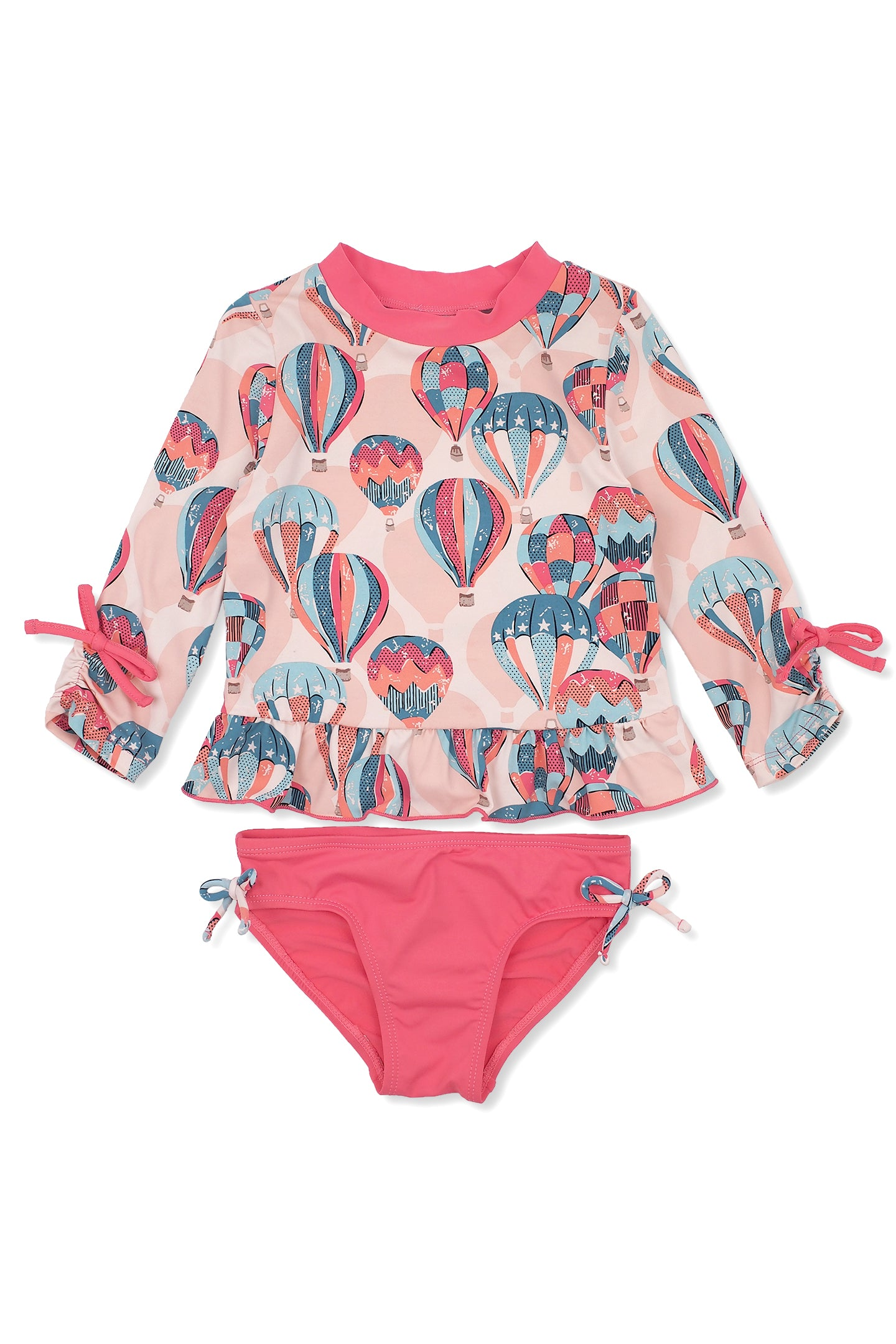Hot Air Balloons 3/4 Sleeve Rash Guard Set, peach